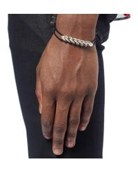 Saint Laurent - Metallic Burnished-Silver And Leather Bracelet for Men - Lyst