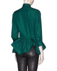 Alaïa Green Irregular Peplum Japanese Poplin Shirt