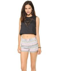 Twelfth Street Cynthia Vincent Bull Embroidered Crop Top - Black