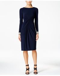 Vince Camuto | Blue Embellished-cuff Wrap Dress | Lyst