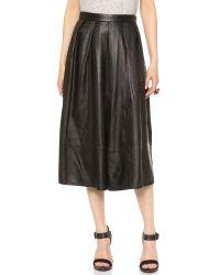 Tibi Full Leather Skirt Black
