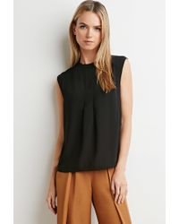 Forever 21 | Black Pleated Crepe Blouse | Lyst