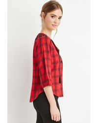Forever 21 - Black Embroidered Plaid Peasant Top - Lyst