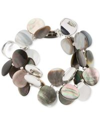 Anne Klein | Metallic Silver-tone Mother Of Pearl Stretch Bracelet | Lyst