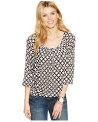 Michael Kors | Black Michael Petite Tile-print Peasant Top | Lyst