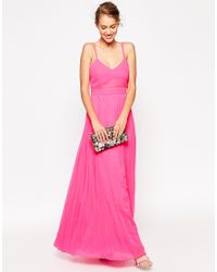 ASOS Pink Sheer And Solid Pleated Maxi Cami Dress