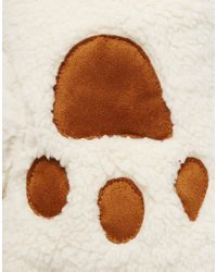 ASOS - Brown Faux Shearling Fingerless Paw Gloves - Lyst