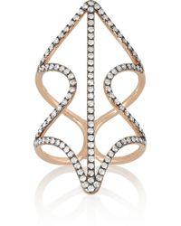 Diane Kordas - Metallic Shield 18karat Rose Gold Diamond Ring - Lyst