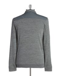 Calvin Klein | Gray Heathered Zip Placket Top for Men | Lyst