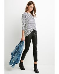 Forever 21 | Natural Nautical Stripe Oversized Top | Lyst