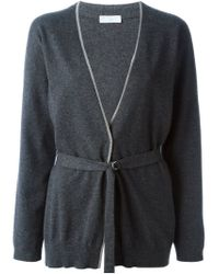 Brunello Cucinelli - Gray Belted Cardigan - Lyst