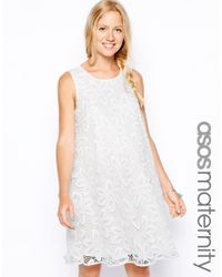 8cafb85f2e62 Lyst - ASOS Swing Dress in Big Flower Lace in White