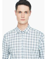 Mango - Gray Slim-fit Gingham Check Shirt for Men - Lyst