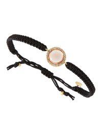 Tai - Crystal Framed Rose Quartz Metallic Cord Bracelet Black - Lyst