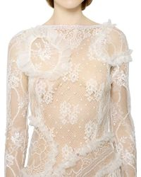 Nina Ricci - White Tulle Trim On Viscose Lace Dress - Lyst