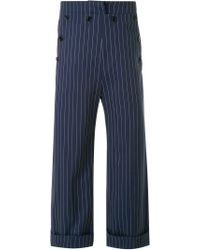 Fad Three Blue Cropped Pinstripe Trousers for men