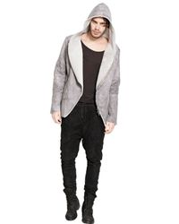 Giorgio Brato Gray Marble Effect Hooded Shearling Jacket for men