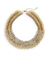 Saks Fifth Avenue | Metallic Beaded & Chain Multi Strand Necklace | Lyst