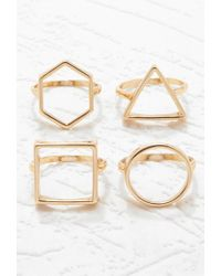 Forever 21 | Metallic Geo Cutout Ring Set | Lyst