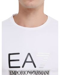 EA7 White Train Graph Cotton Long Sleeve T-shirt