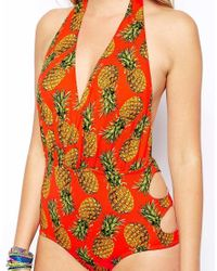 ASOS - Orange Pineapple Print Wrap Plunge Swimsuit - Lyst