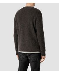 AllSaints Gray Kido Crew Sweater for men