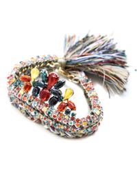 Alyssa Norton | Multicolor Triple Braid Cuff With Hand Painted Rhinestone Drop | Lyst