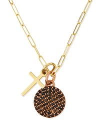 Katie Design Jewelry | Metallic Cross & Full Moon Pave Diamond Necklace | Lyst