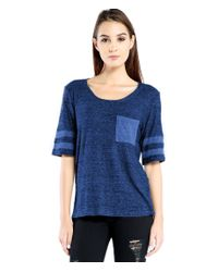 Michael Stars | Blue Melange Sweater Knit Scoop Neck Tee With Front Pocket | Lyst