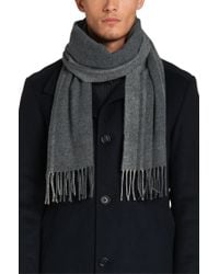 BOSS Gray Scarf In A Wool Blend With Cashmere: 'albarello-3' for men