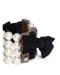 Lanvin | Multicolor Pearl Grosgrain Ribbon Bracelet | Lyst