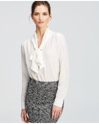 Ann Taylor - White Silk Tie Neck Blouse - Lyst