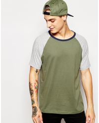 ASOS - Green T-shirt With Contrast Raglan Sleeves And Neck for Men - Lyst