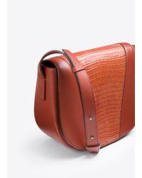 Vince White Modern V Stamped Lizard Small Shoulder Bag
