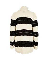River Island Cream and Black Textured Stripe Cardigan