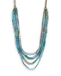 Saks Fifth Avenue | Blue Beaded Multi-strand Chain Necklace | Lyst