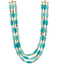 Lauren by Ralph Lauren Blue Three Row Turquoise Beaded Necklace
