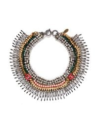 Venna | Multicolor Crystal Spike Fringe Collar Necklace | Lyst