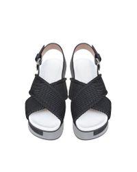 Marni Black Carbon Grey & Green Nylon Wedge Sandal