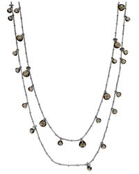 ABS By Allen Schwartz | Metallic Silver-tone Black Stone Two-row Illusion Necklace | Lyst