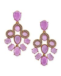 Oscar de la Renta Purple Resin Faceted Chandelier Clip-On Earrings