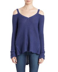 Free People | Blue Moonshine Cold-shoulder Sweater | Lyst