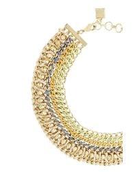 BCBGMAXAZRIA - Metallic Woven-chain Spike Necklace - Lyst