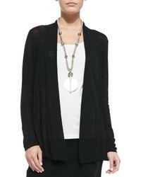 Eileen Fisher - Black Long Polished Linen-blend Rib Cardigan - Lyst