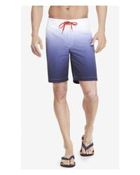 Express Blue 10 Inch Ombre Board Shorts for men