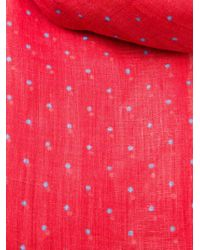 Kiton Red Dotted Scarf for men