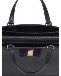 Ferragamo Blue Tracy Saffiano Leather Tote Bag