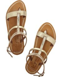 K. Jacques Metallic Lizard-Effect And Leather Sandals