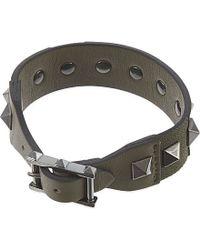 Valentino - Studded Leather Bracelet, Men's, Green Multi - Lyst