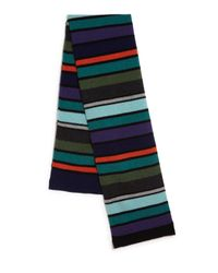 Paul Smith - Green Striped Wool Knit Scarf for Men - Lyst
